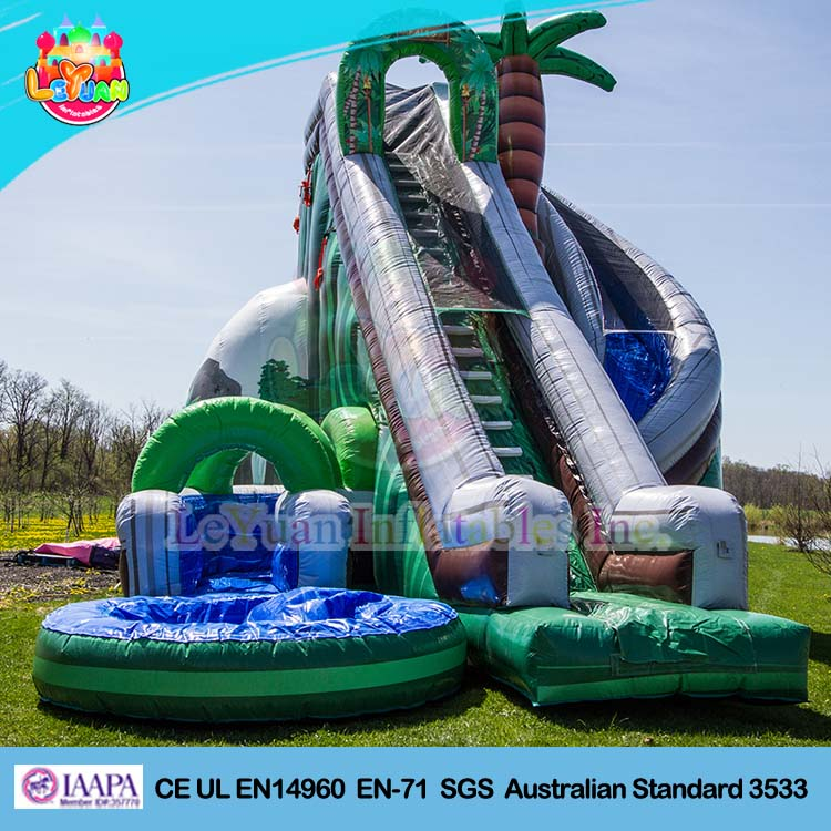 2016 Jungle Falls inflatable dry slide/ giant adult inflatable slide