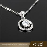 OUXI 2016 top quality manufactor wholesale price plated platinum 925 silver AAA zircon necklaceY30347