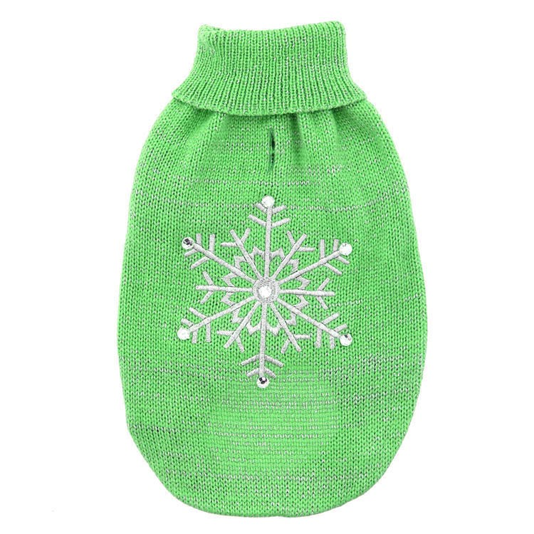 Promotional green cotton pet party dog clothes with knitting pattern