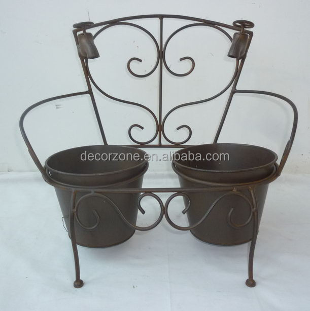 Antique Metal Garden 2 Pots Planter For Sale