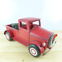 Metal Craft Christmas Decoration Handcrafted Red Truck Model Gift Decor