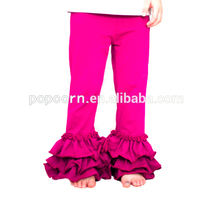 Casual cotton of toddlers trousers baby leggings wholesale girl ruffle capris pants