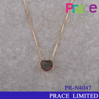 gold long chain fashion heart shape necklace shell