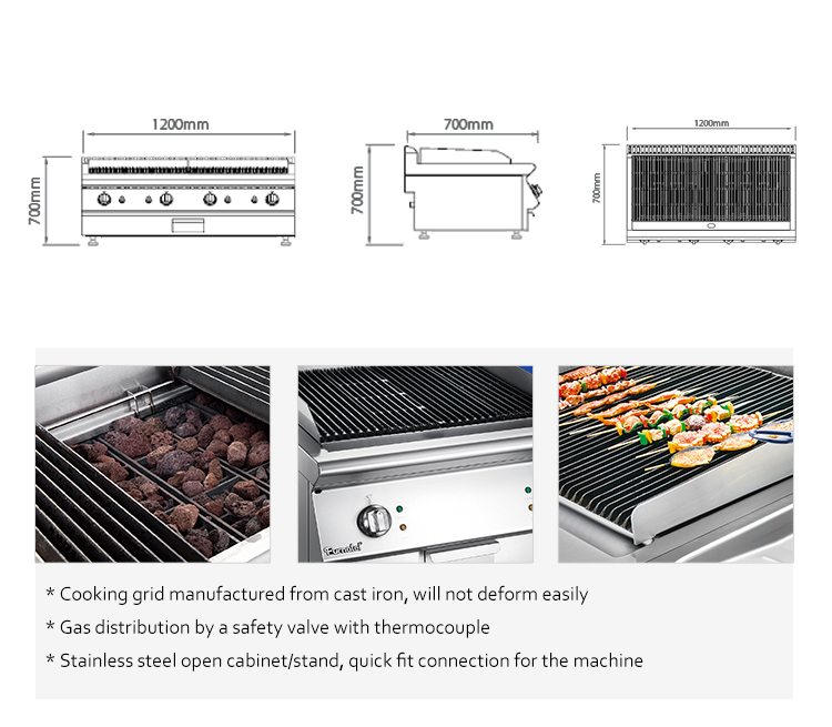 Commercial Cooking Range Double Side Stainless Steel Gas Lava Stone Grill