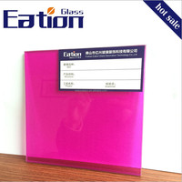Rose Red Laminated Glass Colored Laminated Glass Builidng Materials