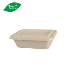 700ml biodegradable T buckle solid bamboo pulp <strong>paper</strong> storage box oil-proof disposable container lunch box
