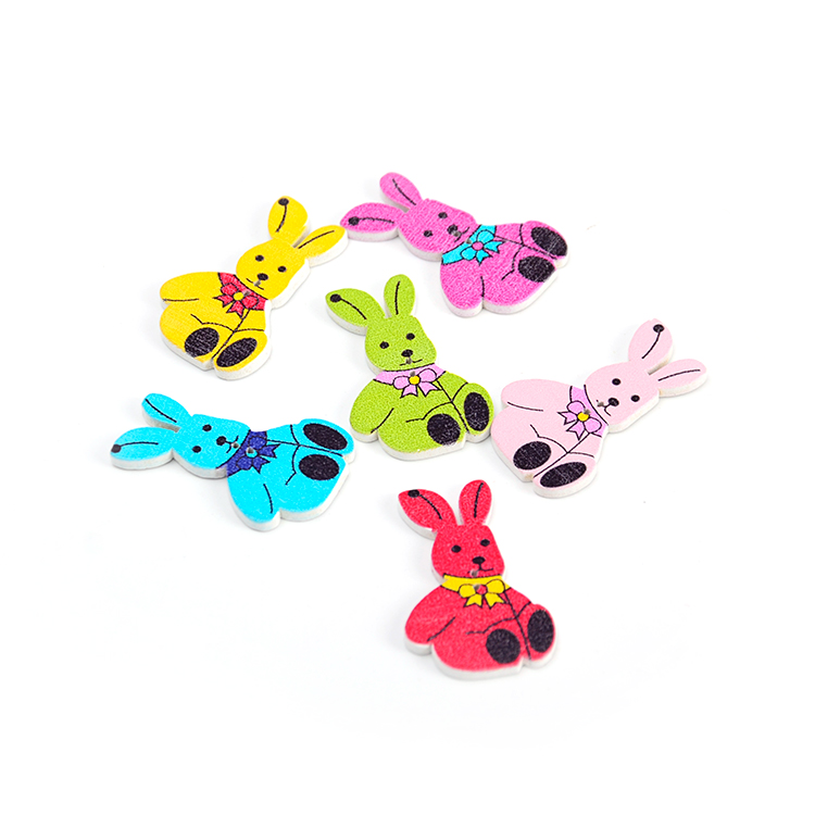 colorful for kids diy play <strong>19</strong>*34mm rabbit wooden button