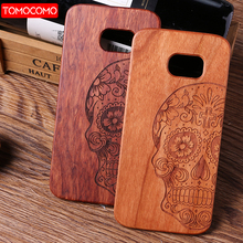 TOMOCOMO High Quality Luxury Natural Carved Real Wood Skull Cell Phone Case For iPhone 8 Plus