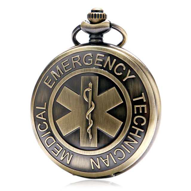 Men Women 2016 Bronze Technical Medical Emergency Quartz Pocket Watch With Necklace Chain Gift Relogio De Bolso