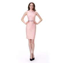 Pink Color Wrap Bodycon Mock Neck Sleeveless Knee Length Party Evening Dress