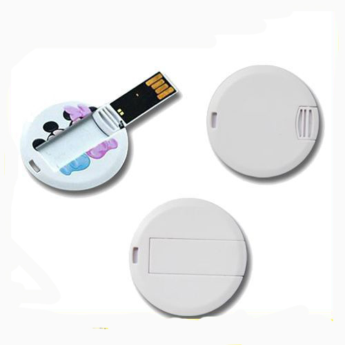 Ultra Thin gifts usb memory disk super slim round card USB flash drive 512mb
