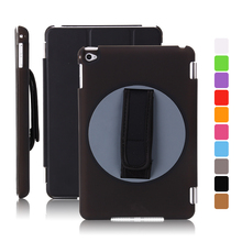 360 degree Hand Rotation Rubber Hard handheld Case For iPad mini 4