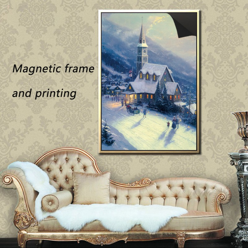christmas picture magnetic frame &print canvas painting -Thomas kinkaides 1013-194