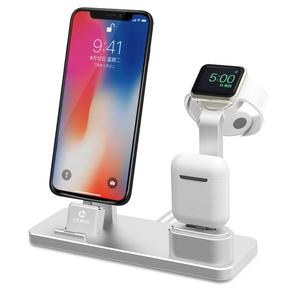 Aluminum charger stand for apple earphones, stand for apple phone , stand for apple watch 38 42mm Grey