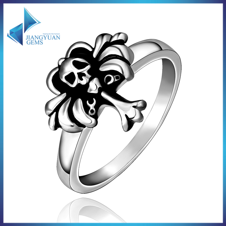 simple skull face stainless steel o rings wholesale jewelry