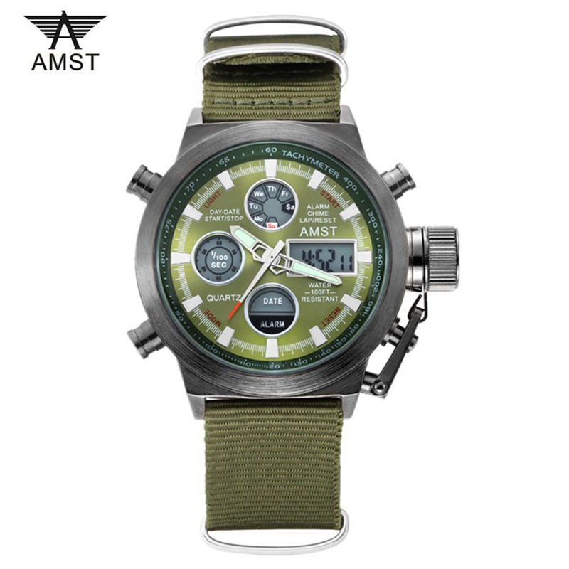 2016 Watches Men Top Luxury Brand AMST Dive LED Watch Sport Military Quartz Watch Men Nylon Strap Wristwatches Relogio Masculino
