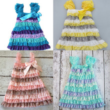 YF7346 summer girls dress lace A-line dress princess baby children dress
