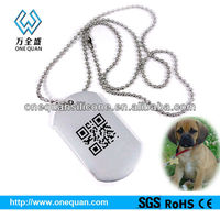 shenzhen manufacturer supply high quality dog tag with unique QR code laser engraving