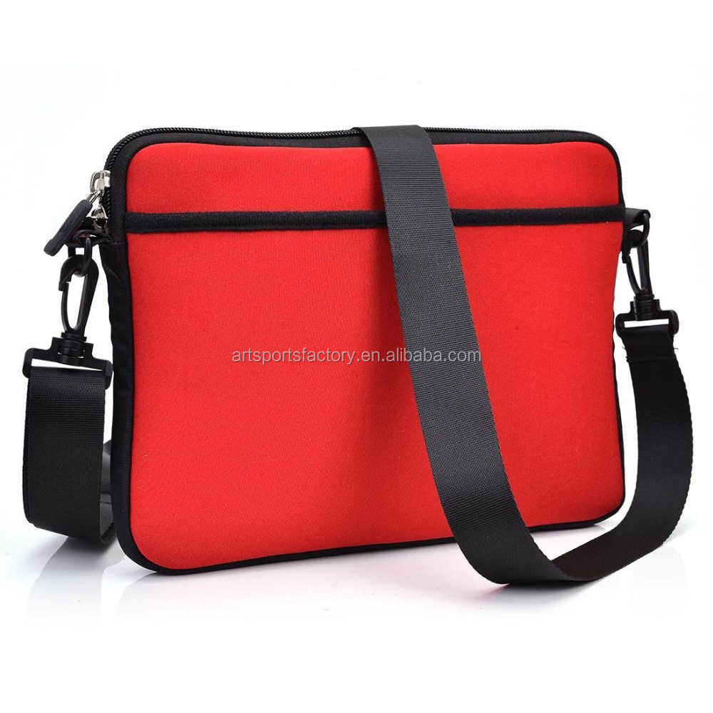 factory price soft neoprene tablet sleeve with handle and carrying strap