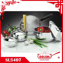 7pcs Stainless Steel Cookware belly shape saucepan casserole SS lid