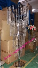 Tall wedding flower stand centerpieces 4tiers crystal chandelier table decor in Event & Wedding Supplies