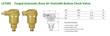 "Forged Brass Automatic Air Vent Valve(with Bottom Check Valve)--1/2"" model"