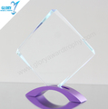 Custom blank clear glass plaque award trophy with colorful zinc alloy metal base