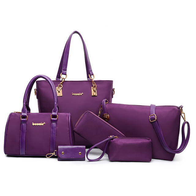 High quality wholesale purple nylon handle bags fashion handbags set for women 2015