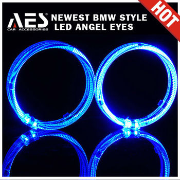 LED head lamp double colorful angel eye ring for car flashing