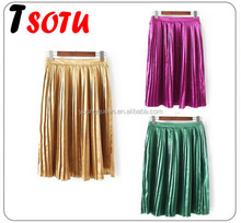 NT17 2017 new summer pictures of long skirts and tops Women's Shiny Liquid Metallic Pleated Skirt