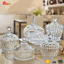 Transparent unique wedding Decoration glass candy jar crystal with lid