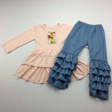 High quality girls ruffle outfits solid color dress and ruffle pants set wholesale clothing no minimum order