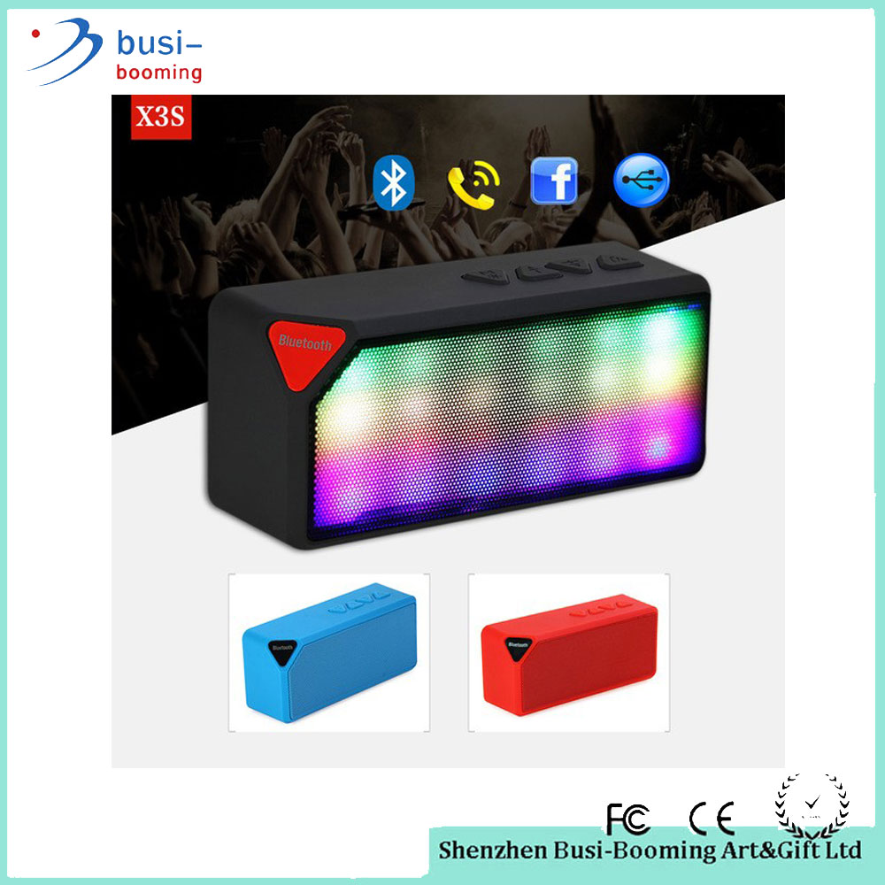 Portable Mini LED Lights Wireless Stereo X3S Flat Bluetooth Speaker FM Radio Built in Mic MP3 Virtual Surround For Smartphone