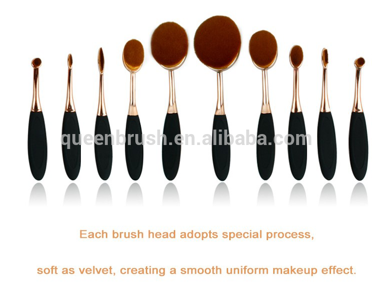EX-factory price 10 pcs rose gold toothbrush silicone material tooth shape professional cosmetic brush