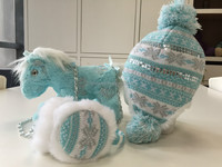 2016 smart knitting hat toy and earmuff 's girl set