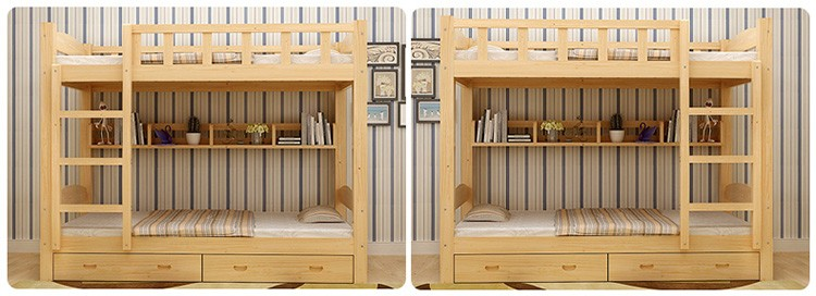 European hotel furniture modern wooden kids bunk bed design