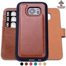 Factory Supply PU Leather RFID Wallet Case for Samsung Galaxy S7 with Detachable Folio Kickstand