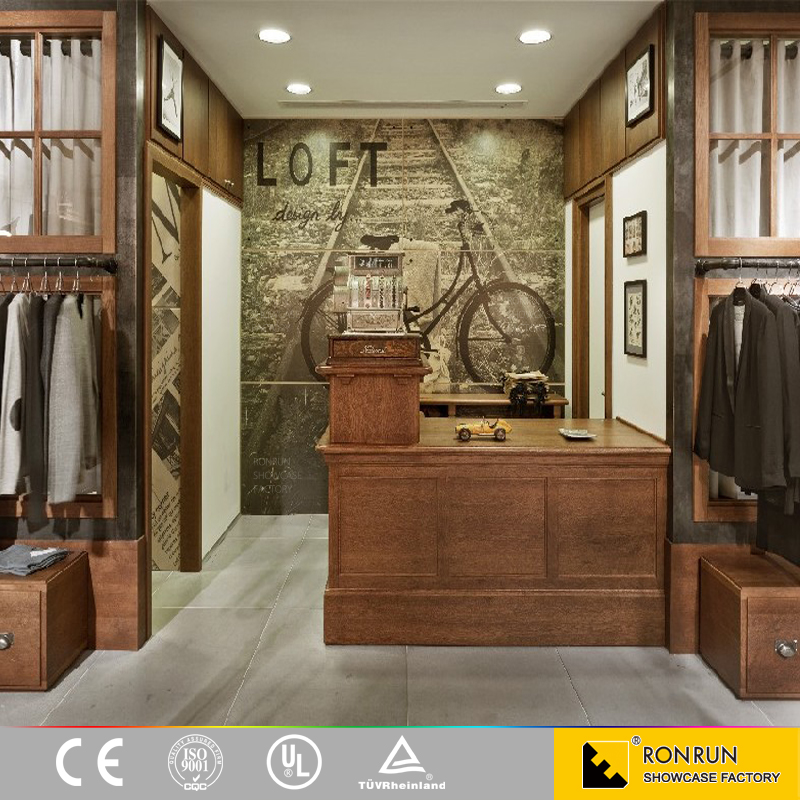 Classical Design Casual Clothes Shop wooden men's clothes display case clothing showcase