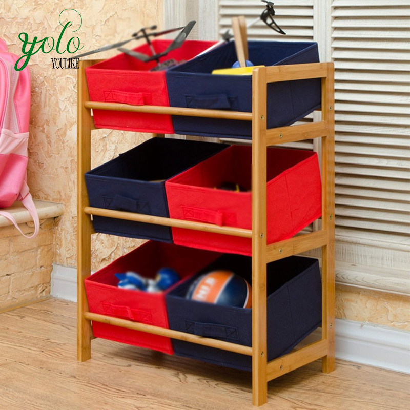 Home child toy storage Bamboo shoe rack with baby cloth pumping box