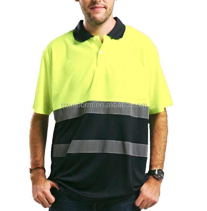 Mens Yellow/navy Two Tone Hi Vis Dry Fit Polo Tee shirt with Reflective Tapes