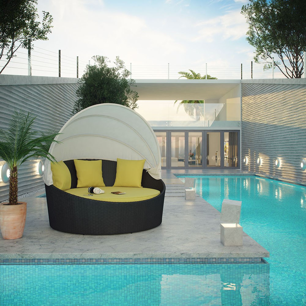 Beach Swimming Pool rattan rattan round outdoor lounge bed with canopy