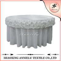 Satin ruffled wedding decoration chair covers and table covers