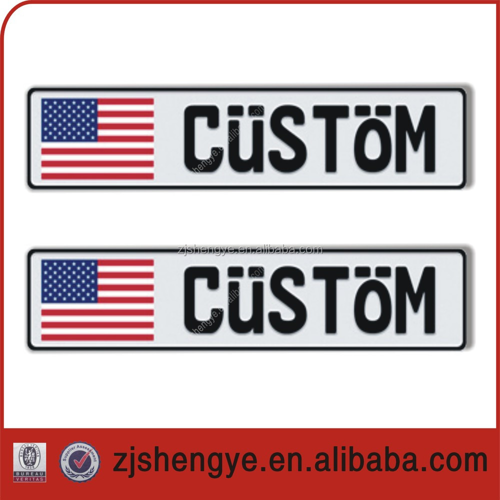 european reflective embossed or blank car number aluminum name plates
