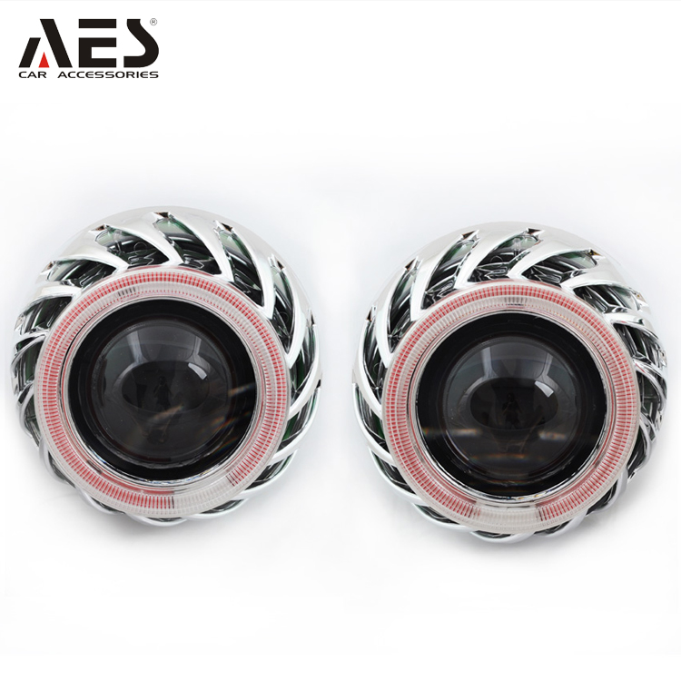 "AES top selling X1C car headlamp light dual angel eyes 35W 2.5"" size bi-xenon Hid projector lens kit"