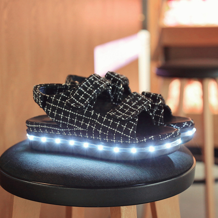 Flat Women Sandals 2016 Shoes Woman Summer led lighted up Sandals