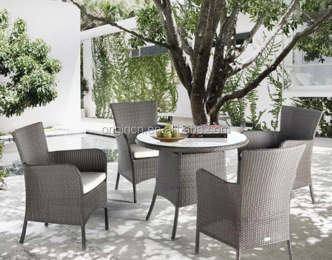 Cheap garden patio used synthetic rattan woven outdoor dining table set wicker restaurant furniture miami