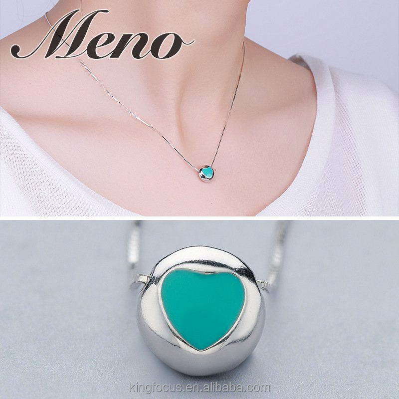 Meno S925 silver necklace lady small pure and fresh box chain resin drop heart shaped jewelry gift