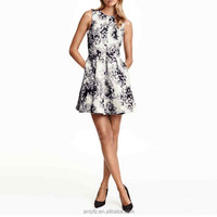 jacquard slim tat flare skirt sleeveless short dress