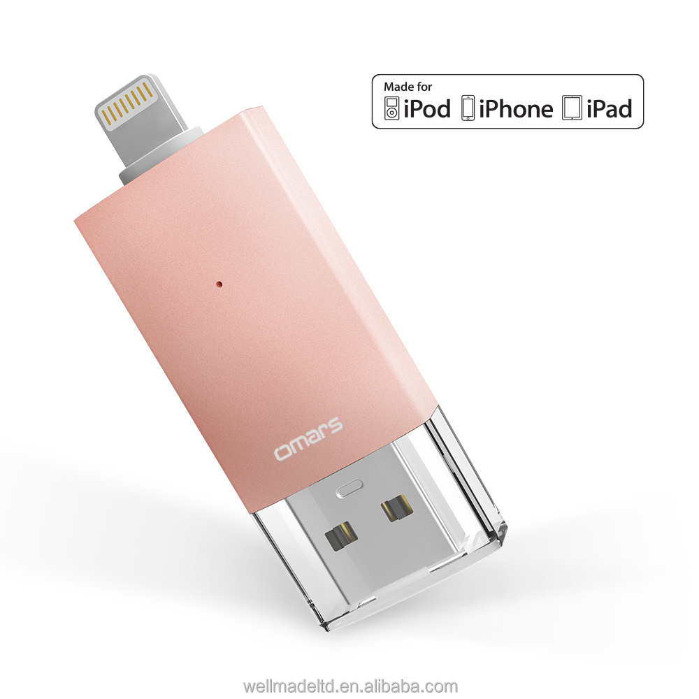 [[MFi certified] Omars OTG Flash Drive 128Gb Mini USB3.0 for iPhone iPad mini