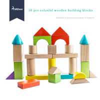 children toys new 2016 Educational early childhood colorful wooden building blocks 50 pcs